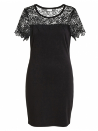 Vila Jurk winter flower black lace zwart