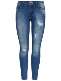 ONLY Jdy Low Magic Destroy Ankle Skinny Jeans Dames Blauw