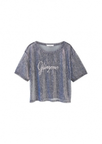 T-shirt met metallic garen