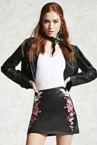 Faux Leather Embroidered Skirt