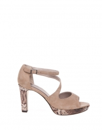 Pump - Leather Heels Snake Patterned Sole Crème