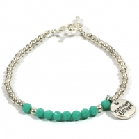 Heaven Eleven dames armband Silver Plated Turquoise Glass