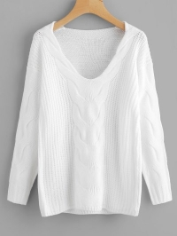 Pullover V Neck Cable Knit Sweater