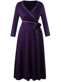 Plus Size Long Sleeve Formal Wrap Dress