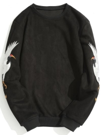 Animal Crane Patch Suede Sweatshirt