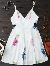 Maxi Floral Plunge Backless Cut Out Floral Dress