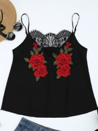 Lace Panel Floral Patched Cami Top