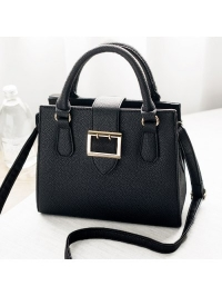 Textured Leather Belt Buckle Tote Bag