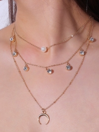 Rhinestone Faux Pearl Layered Tribal Moon Necklace