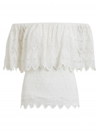 VILA Off-shoulder Top Met Korte Mouwen Dames White