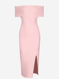 Off The Shoulder Side Slit Fitted Dress