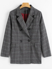 Double Breasted Checked Lapel Blazer with Pockets