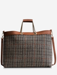Checked Color Blocking Tote Bag
