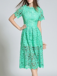Short Sleeve Hollow Out Scalloped Lace Dress