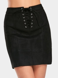 Lace Up High Waist Faux Suede Skirt