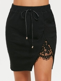 Split Lace Panel High Waisted Short Skirt