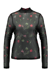 zwarte Na-kd High neck mesh flower