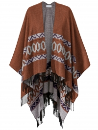Poncho met franjes Angel of Style roest
