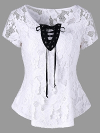 Hollow Out Lace Up Blouse