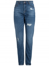 PIECES High Waist Destroyed Mom Fit Jeans Dames Blauw