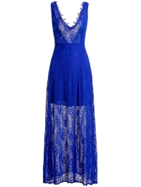 Sheer Lace Backless Maxi Evening Dress