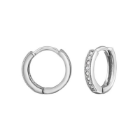 Silver 12mm Ear Hoops with Cubic Zirconia | 925 Sterling Silver