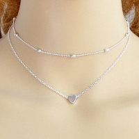 Layered Heart Collarbone Two Piece Necklace Set