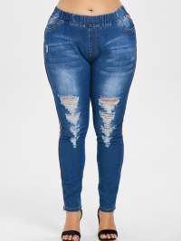 Elastic Waist Plus Size Distressed Jeans