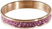 Quiges Stapelring Ring - Vulring Roze Glitter - Dames - RVS roségoud - Maat 19 - Hoogte 4mm