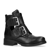 leren cut out bikerboots