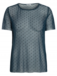 PIECES Gestippelde Mesh T-shirt Dames Blauw