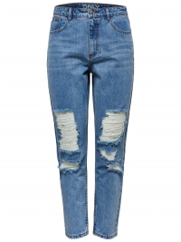 ONLY Kelly Mom Destroy Straight Fit Jeans Dames Blauw